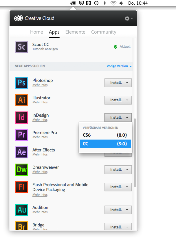 Adobe CC Version 9 installieren